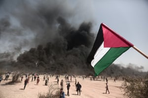Palestinians stage a demonstration within the Great March of Return in Khan Yunis, Gaza.