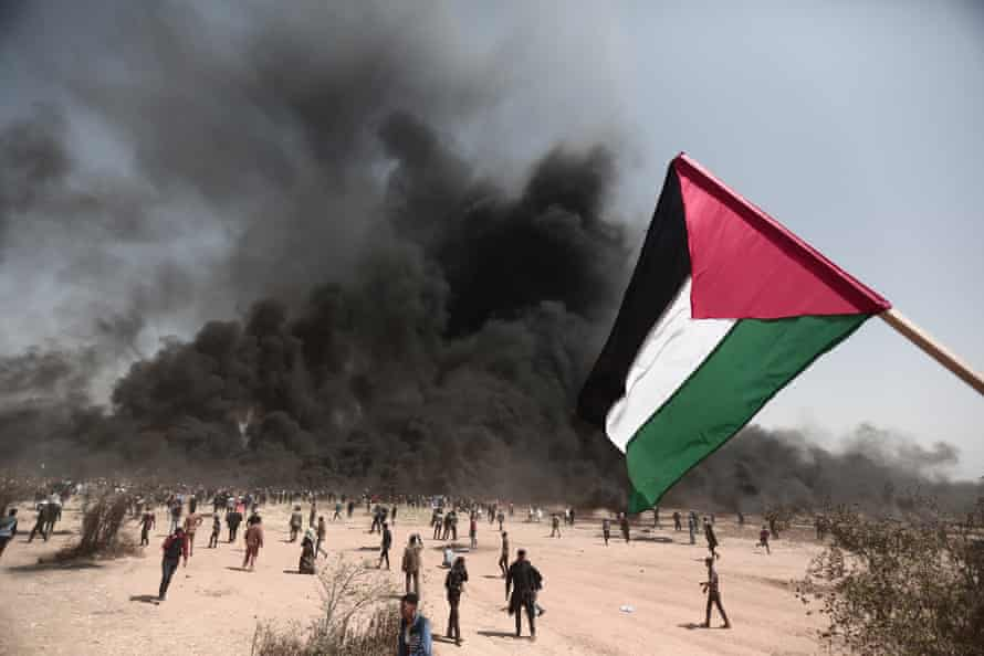 Palestinians stage a demonstration within the 'Great March of Return' in Khan Yunis, Gaza.