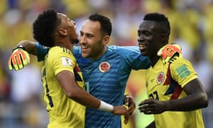 Arsenal's David Ospina, centre, plays alongside Tottenham's Davinson Sánchez, right, in Colombia's World Cup team.