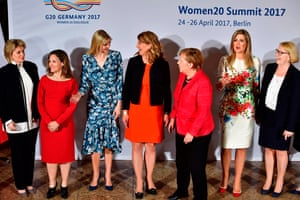 (L-R) Vice Chairwoman of the Bank of America Anne Finucane, Canada's Minister of Foreign Affairs Chrystia Freeland, First Daughter and Advisor to the US President Ivanka Trump, co-chairwoman of the W20 Stephanie Bschorr, German Chancellor Angela Merkel, Queen Maxima of the Netherlands and co-chairwoman of the W20 Mona Kueppers pose for a family photo during the W20 women's empowerment summit sponsored by the G20 Group of 20 major economic powers on April 25, 2017 in Berlin. / AFP PHOTO / John MACDOUGALLJOHN MACDOUGALL/AFP/Getty Images