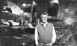 Michael White at the Piccadilly theatre, London, during rebuilding work, 1989.