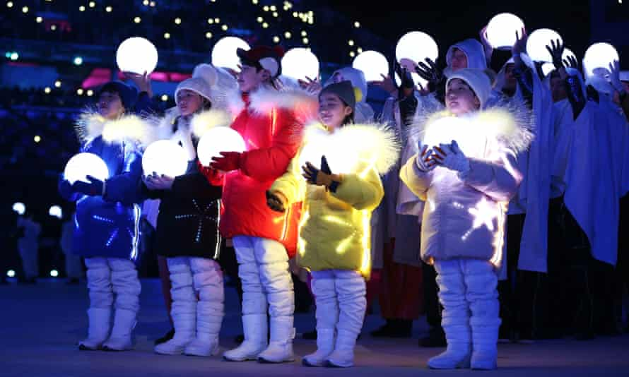 The children from the opening ceremony returned for the closing ceremony