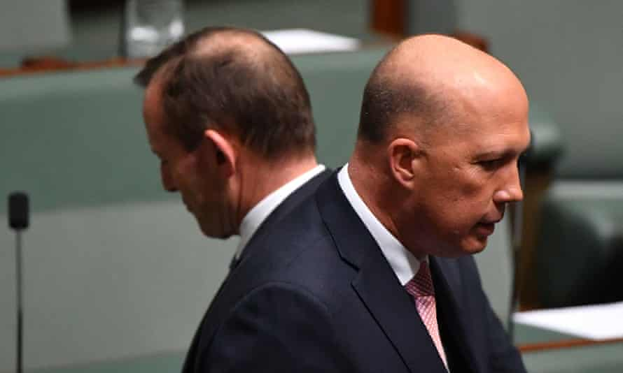 Former prime minister Tony Abbott and former minister for home affairs Peter Dutton. 'What the right really seems to like about Peter Dutton is that he has been willing to run with the culture wars.'
