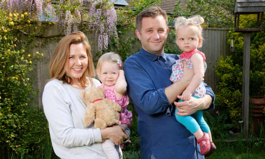 Gareth and Gabby and their twin daughters, Astrid and Florrie, now 18 months.