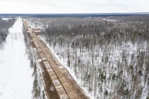 Enbridge contractors work on Line 3 in Aitkin county in Palisade, Minnesota, on 4 February 2021.