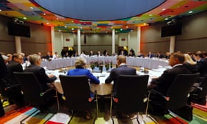 EU leaders at the European council meeting in April.