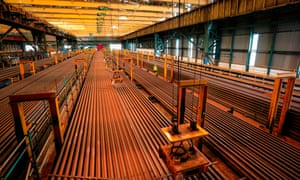 Steel is laid out ready for transport on trains at the British Steel plant in Scunthorpe.