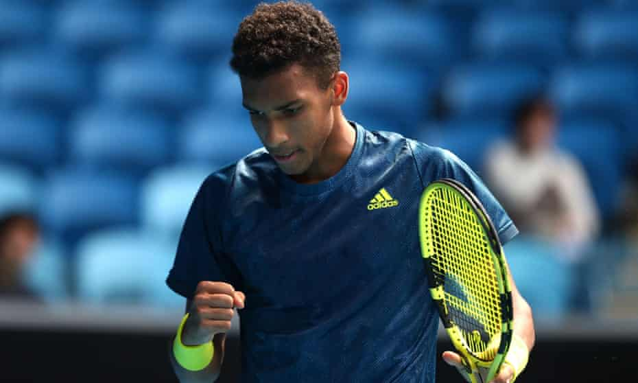 Félix Auger-Aliassime during his Melbourne final defeat against Dan Evans this year, one of seven defeats he has endured in finals.