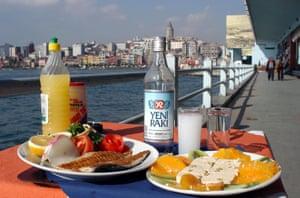 Raki and snacks in Istanbul.
