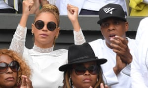 Beyonce and Jay Z cheer on Serena Williams from her family's box at Wimbledon.
