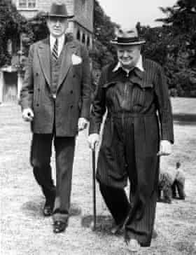 Winston Churchill in a boilersuit with pinstripes in 1949.