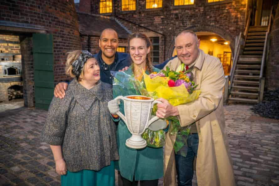 Great Pottery Throwdown judges Siobhán McSweeney, Keith Brymer Jones and Rich Miller with winner Jodie Neale, centre.