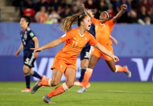 Netherlands' Lieke Martens celebrates scoring their second goal.
