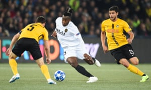 Valencia goalscorer Michy Batshuayi looks for space against Young Boys