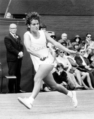 Goolagong was the highest-ranked Australian woman on tour following the retirement of Margaret Court.Goolagong in action against America's Chris Evert in the semi-finals at Wimbledon in 1972. She beat Evert 4-6, 6-3, 6-4.