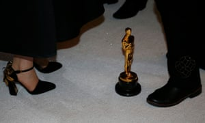 An Oscar statue is pictured on the ground at the arrivals area during the Governors Ball