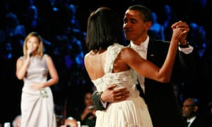 """Obama dances with Michelle Obama as Beyonce sings """"At Last"""" during the first Inaugural Ball on January 20, 2009."""