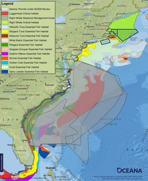 Overlap of proposed seismic airgun blasting areas and essential fish habitat and critical habitat in the Atlantic.