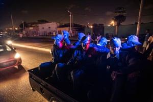 Police patrol on a Friday night in Luanda