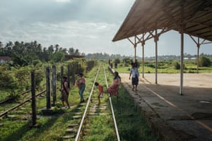 Rohingyas get off at the last stop before Sittwe to cross the train tracks and go through a small passage between two barbed wires that brings them back to Thae Chaung camp on the outskirts of Sittwe