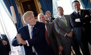 Washington DC, USPresident Donald Trump swings a Marucci baseball bat in the Blue Room during a 'Made in America' product showcase event at the White House in Washington, DC that shows products made in all 50 states