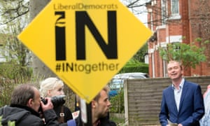 Tim Farron on the campaign trail in Manchester.