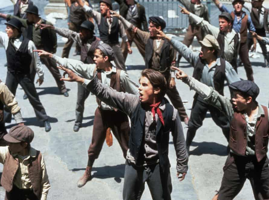 A call to arms: Christian Bale in the 1992 Disney film Newsies, of which the Broadway musical is a remake
