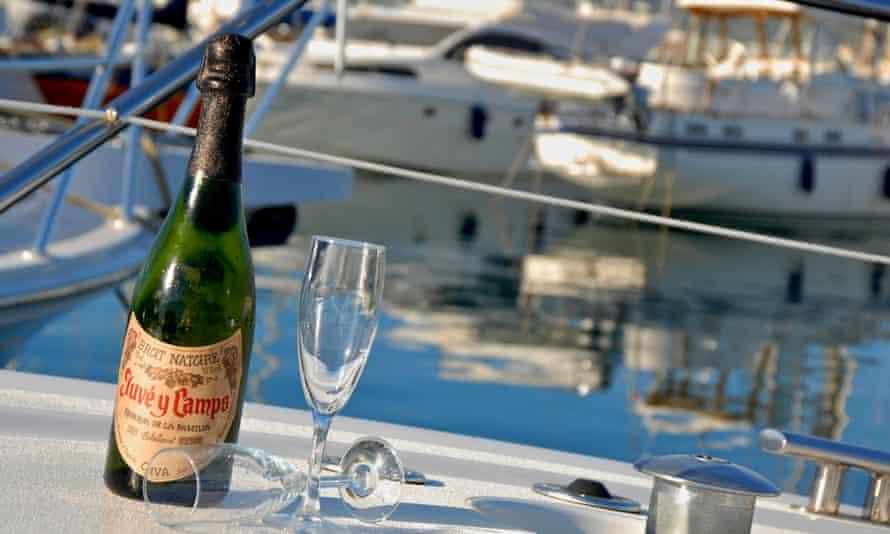 Cava bottle on a yacht in Ibiza, Spain.