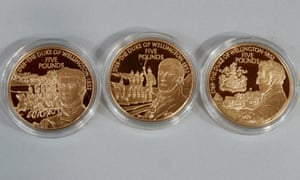 Channel Islands gold coins marking the 150th anniversary of the Duke of Wellington's death.