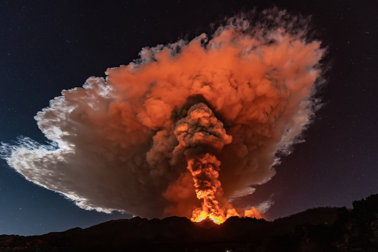 Lava fountains put on a spectacular display. Photograph: Getty Images