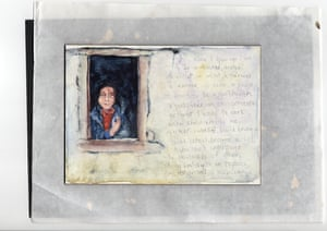 Water colour-type painting of girl in window (photo below), with her aspirations written on white wall by her side