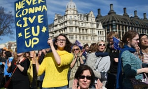 Pro-EU demonstrators outside parliament in March 2017.