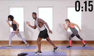 Joy and energy … Raneir Pollard leads a workout.
