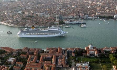 A cruise ship makes its way through the Canale Della Giudecca during the 65th Venice Film Festival in 2008.