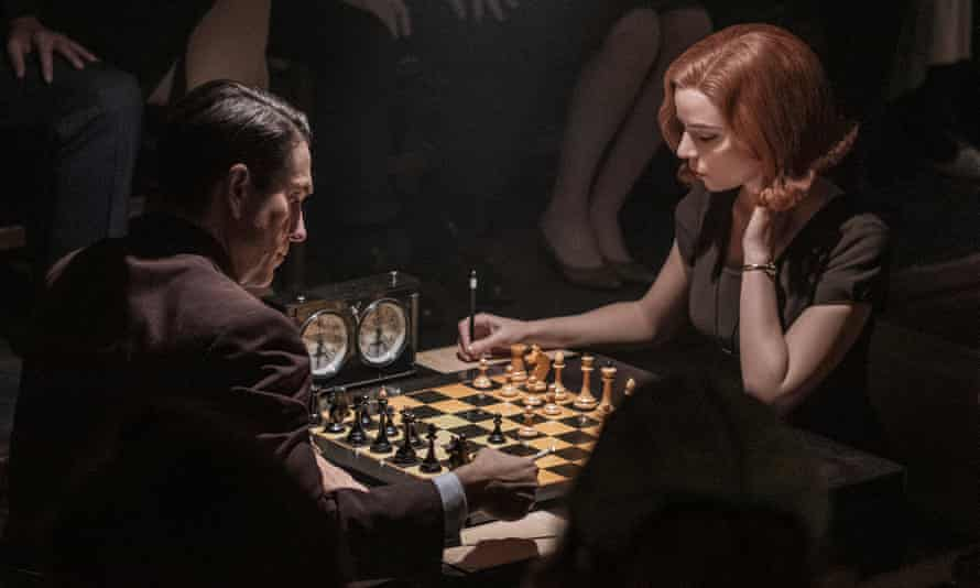 A scene from The Queen's Gambit, the Netflix miniseries that has led to a resurgence of interest in chess.