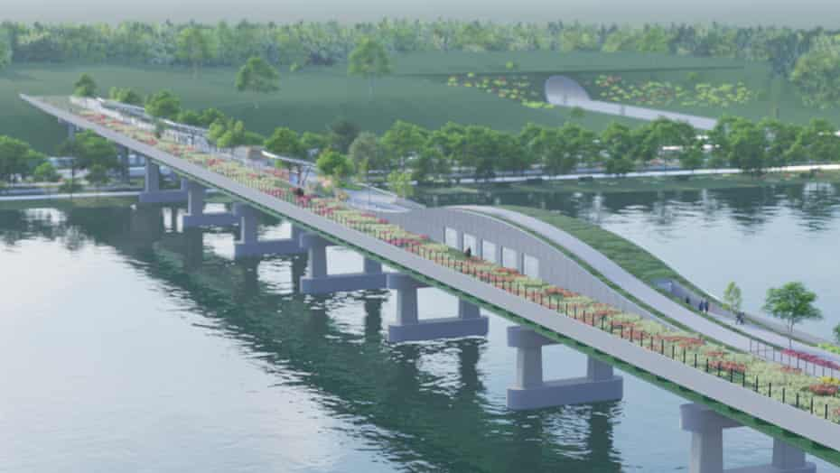 A rendering of a potential future wildlife crossing.