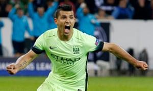 Manchester City's Sergio Aguero celebrates scoring his side's second goal against Borussia Mönchengladbach.