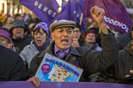 A Podemos march in Madrid. The fledgling radical leftist movement has attracted tens of thousands of people disenchanted with the established parties such as the ruling People's party.