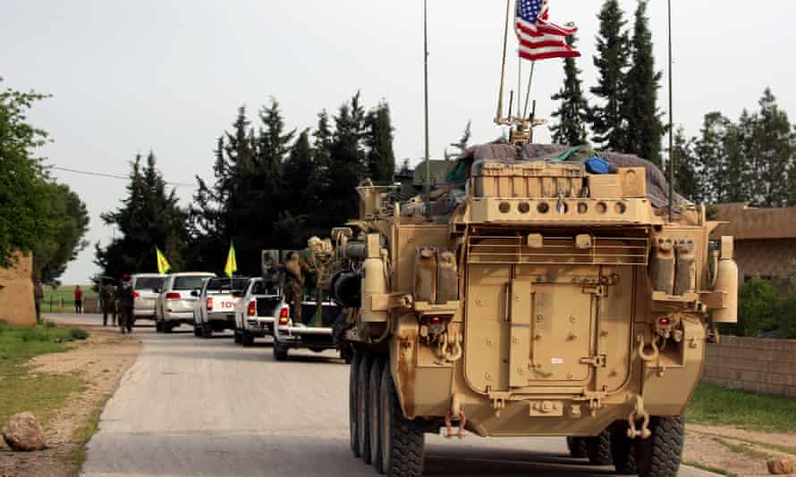 US forces, accompanied by Kurdish fighters, in northern Syria, on the border with Turkey.