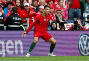 Ronaldo celebrates scoring the opener for Portugal.