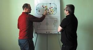 Pitch inversion … Corneliu Porumboiu, right, with Laurențiu Ginghină in Infinite Football.