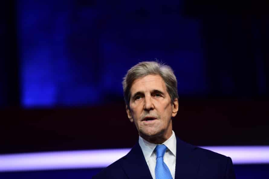 Special Presidential Envoy for Climate John Kerry speaks after being introduced by President-elect Joe Biden as he introduces key foreign policy and national security nominees and appointments at the Queen Theatre on November 24, 2020 in Wilmington, Delaware.