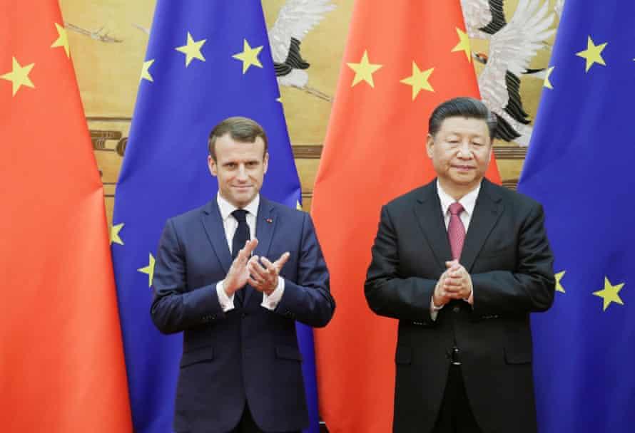 Xi Jinping and French Emmanuel Macron