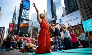 New York, USA People take part in the 15th annual Times Square yoga event