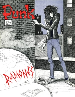 Joey Ramone, Vol 1, Issue no 3, April 1976. Illustration and Design by John Holmstrom.