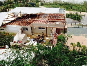 A rooftop decimated by the storm