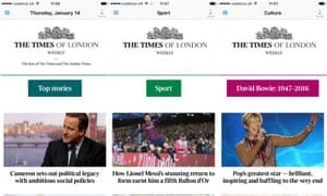 The Times of London Weekly will feature content from the Times and Sunday Times.