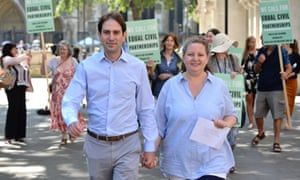 Rebecca Steinfeld and Charles Keidan outside the supreme court in London where they won the right to enter into a civil partnership.