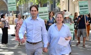 Rebecca Steinfeld and Charles Keidan outside the supreme court in London