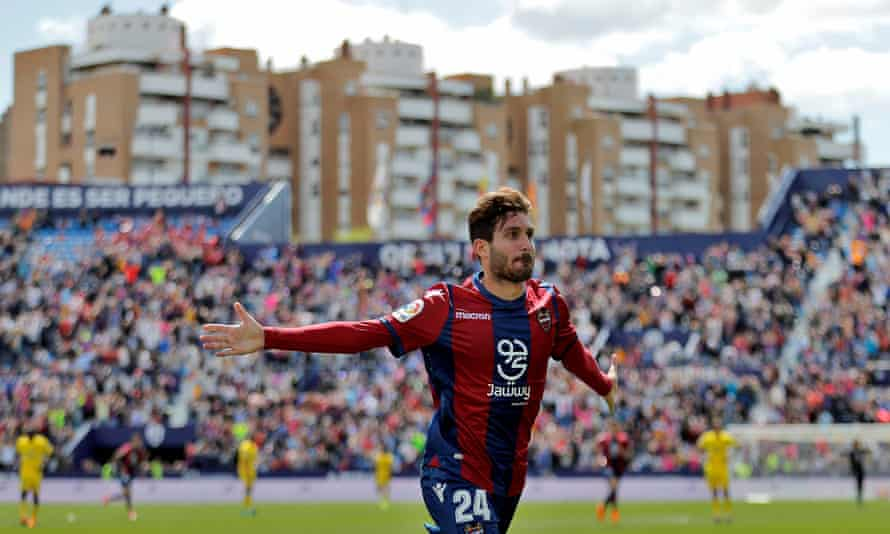 Levante's José Campaña celebrates the 92nd-minute winner against La Palmas that has pushed Valencia's second club to the verge of La Liga safety.